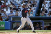 Infielder Brandon Phillips of the Cleveland Indians swings at a New York Yankees pitch during the game on July 9 2005 at Yankee Stadium in the Bronx...