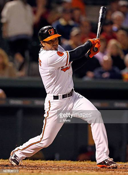 Infielder Brian Roberts of the Baltimore Orioles bats against the Boston Red Sox during a Grapefruit League Spring Training Game at Ed Smith Stadium...