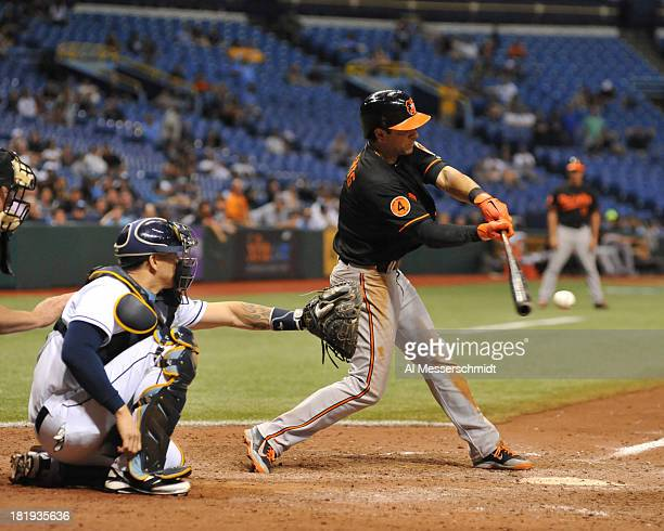 Infielder Brian Roberts of the Baltimore Orioles bats in the 16th inning against the Tampa Bay Rays September 20 2013 at Tropicana Field in St...