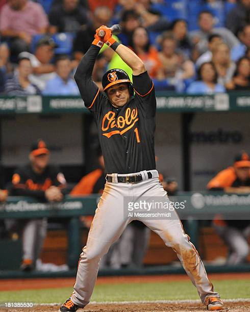Infielder Brian Roberts of the Baltimore Orioles ducks away from an inside pitch against the Tampa Bay Rays September 20 2013 at Tropicana Field in...