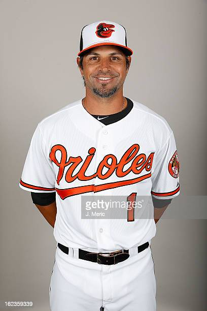 Infielder Brian Roberts of the Baltimore Orioles poses for a photo during photo day at Ed Smith Stadium on February 22 2013 in Sarasota Florida