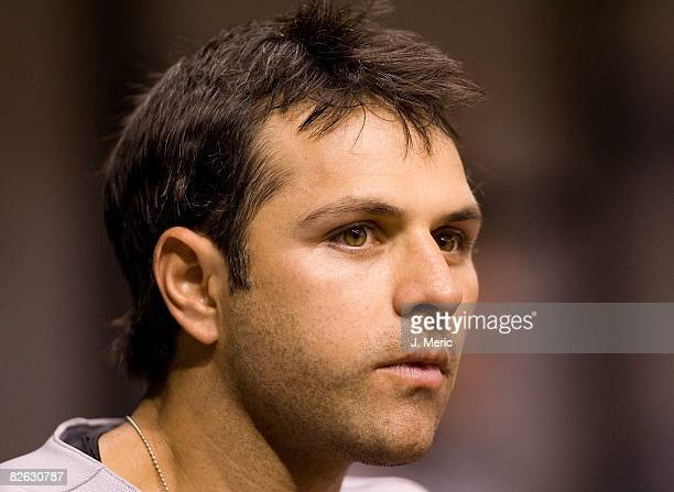 Infielder Brian Roberts of the Baltimore Orioles watches his teammates from the dugout during a game against the Tampa Bay Rays on August 31 2008 at...