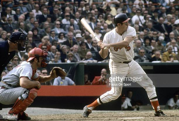 Infielder Brooks Robinson of the Baltimore Orioles at the plate ready to swing against the Cincinnati Reds during a world series game October 1970 at...