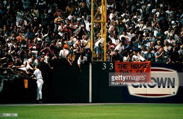 Infielder Cal Ripken Jr of the Baltimore Orioles greets fans in the outfield after breaking Lou Gherig's record of 2130 consecutive games played on...
