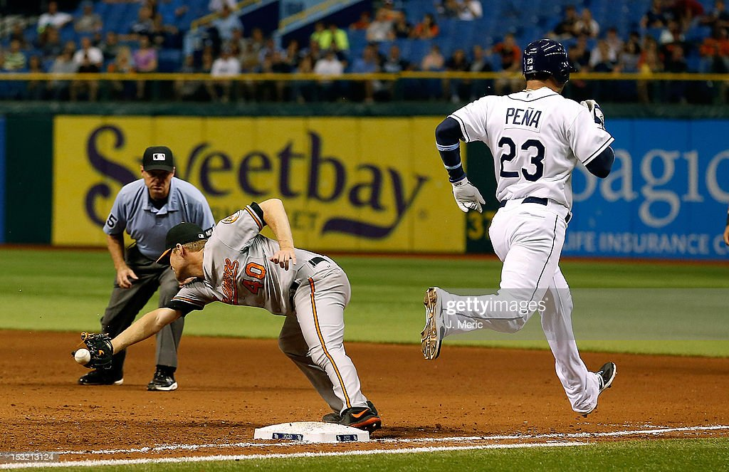 Infielder Carlos Pena #23 of the Tampa Bay Rays beats the throw to first as pitcher Troy Patton #40 of the Baltimore Orioles takes the throw during the game at Tropicana Field on October 1, 2012 in St. Petersburg, Florida.