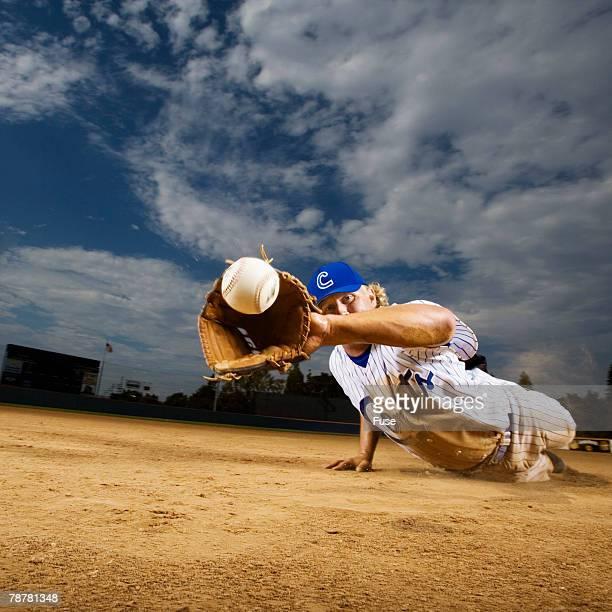Infielder Catching Ball