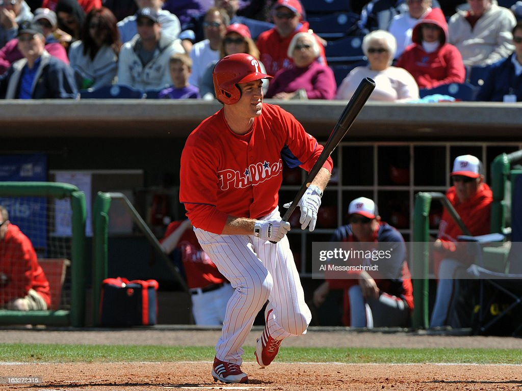 Infielder <a gi-track='captionPersonalityLinkClicked' href=/galleries/search?phrase=Chase+Utley&family=editorial&specificpeople=161391 ng-click='$event.stopPropagation()'>Chase Utley</a> #26 of the Philadelphia Phillies is hit by a pitch against the Washington Nationals March 6, 2013 at Bright House Field in Clearwater, Florida.