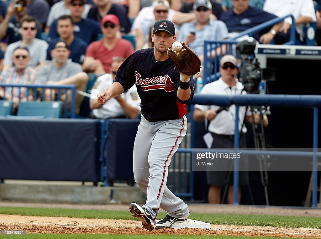 Infielder Chris Johnson #23 of the Atlanta Braves takes the throw at first against the New York Yankees during a Grapefruit League Spring Training Game at George M. Steinbrenner Field on March 9, 2013 in Tampa, Florida.