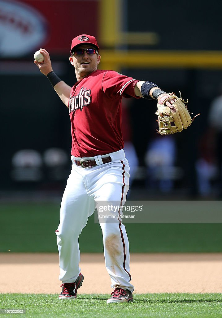 Infielder Cliff Pennington #4 of the Arizona Diamondbacks during the MLB game against the Pittsburgh Pirates at Chase Field on April 10, 2013 in Phoenix, Arizona. The Diamondbacks defeated the Pirates 10-2.