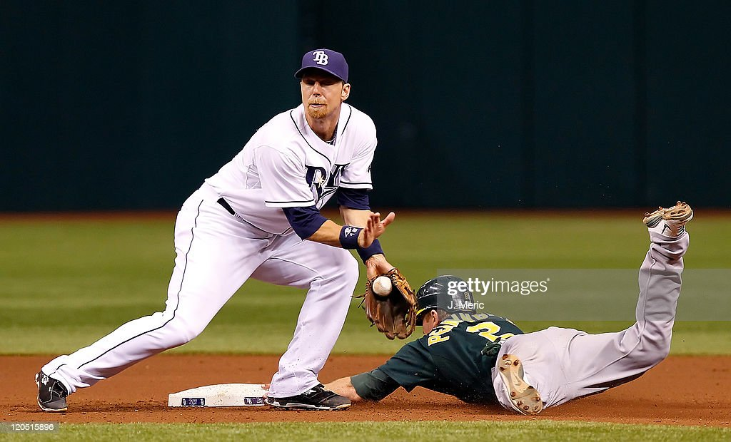 Infielder Cliff Pennington #2 of the Oakland Athletics steals second as <a gi-track='captionPersonalityLinkClicked' href=/galleries/search?phrase=Ben+Zobrist&family=editorial&specificpeople=2120037 ng-click='$event.stopPropagation()'>Ben Zobrist</a> #18 of the Tampa Bay Rays handles the throw during the game at Tropicana Field on August 6, 2011 in St. Petersburg, Florida.