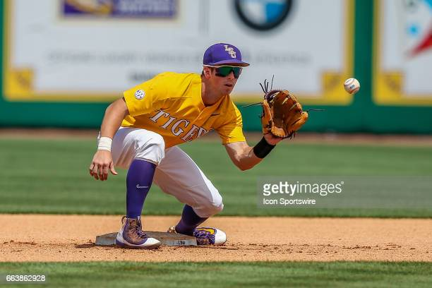 LSU infielder Cole Freeman warming up during the game between Texas AM and LSU on April 01 2017 at Alex Box Stadium in Baton Rouge LA