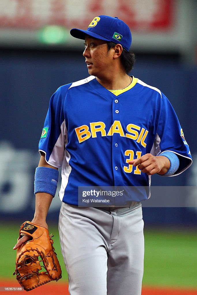 Infielder Daniel Matsumoto #31 of Brazil in action during the friendly game between Orix Buffaloes and Brazil at Kyocera Dome Osaka on February 26, 2013 in Osaka, Japan.