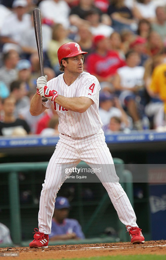 Infielder David Bell of the Philadelphia Phillies waits for a Montreal Expos pitch during the game at Citizens Bank Park on July 1 2004 in...