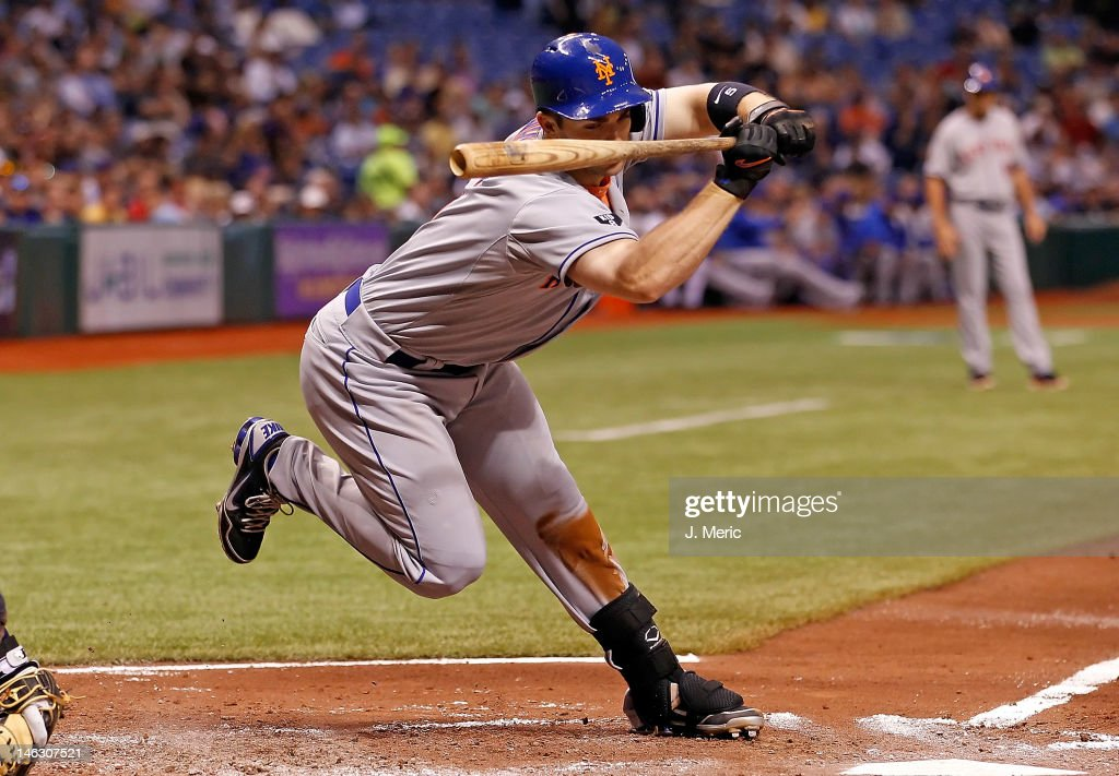 Infielder <a gi-track='captionPersonalityLinkClicked' href=/galleries/search?phrase=David+Wright+-+Baseball+Player&family=editorial&specificpeople=209172 ng-click='$event.stopPropagation()'>David Wright</a> #5 of the New York Mets gets out of the way of this pitch against the Tampa Bay Rays during the game at Tropicana Field on June 13, 2012 in St. Petersburg, Florida.