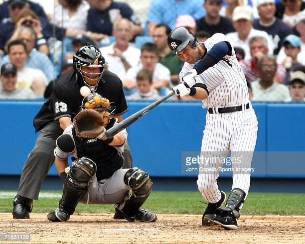 Infielder Derek Jeter of the New York Yankees batting against the Florida Marlins on June 25 2006 at Yankee Stadium in the Bronx New York