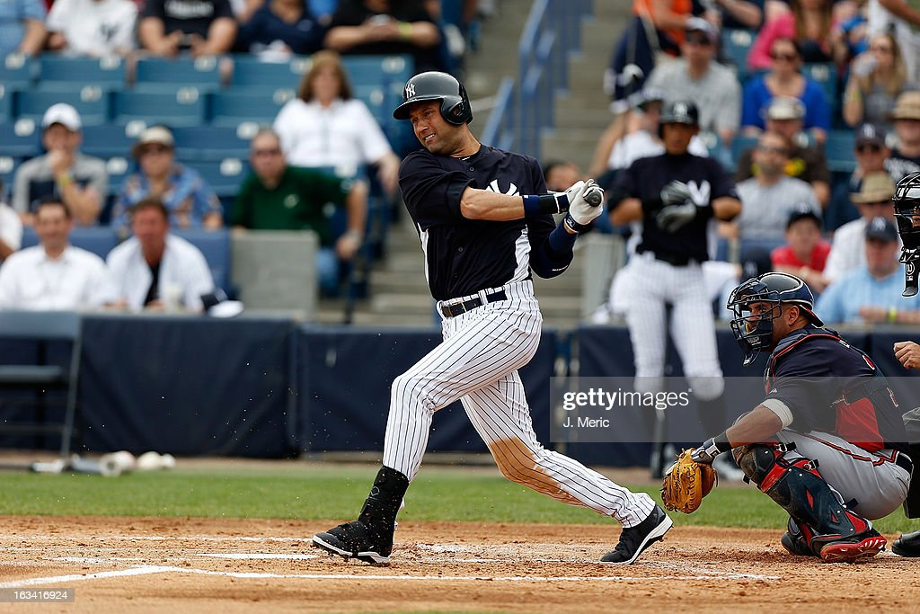 Infielder <a gi-track='captionPersonalityLinkClicked' href=/galleries/search?phrase=Derek+Jeter&family=editorial&specificpeople=167125 ng-click='$event.stopPropagation()'>Derek Jeter</a> #2 of the New York Yankees singles in the first inning against the Atlanta Braves during a Grapefruit League Spring Training Game at George M. Steinbrenner Field on March 9, 2013 in Tampa, Florida.
