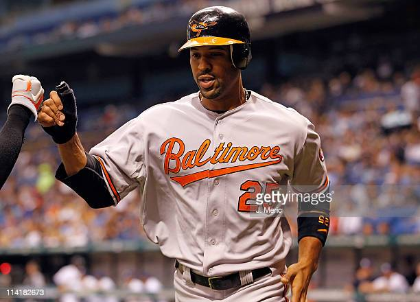 Infielder Derrek Lee of the Baltimore Orioles celebrates after scoring against the Tampa Bay Rays during the game at Tropicana Field on May 14 2011...