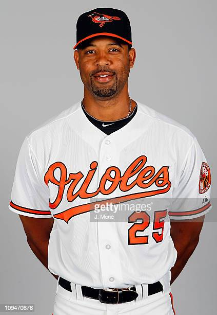 Infielder Derrek Lee of the Baltimore Orioles poses for a photo during photo day at Ed Smith Stadium on February 26 2011 in Sarasota Florida