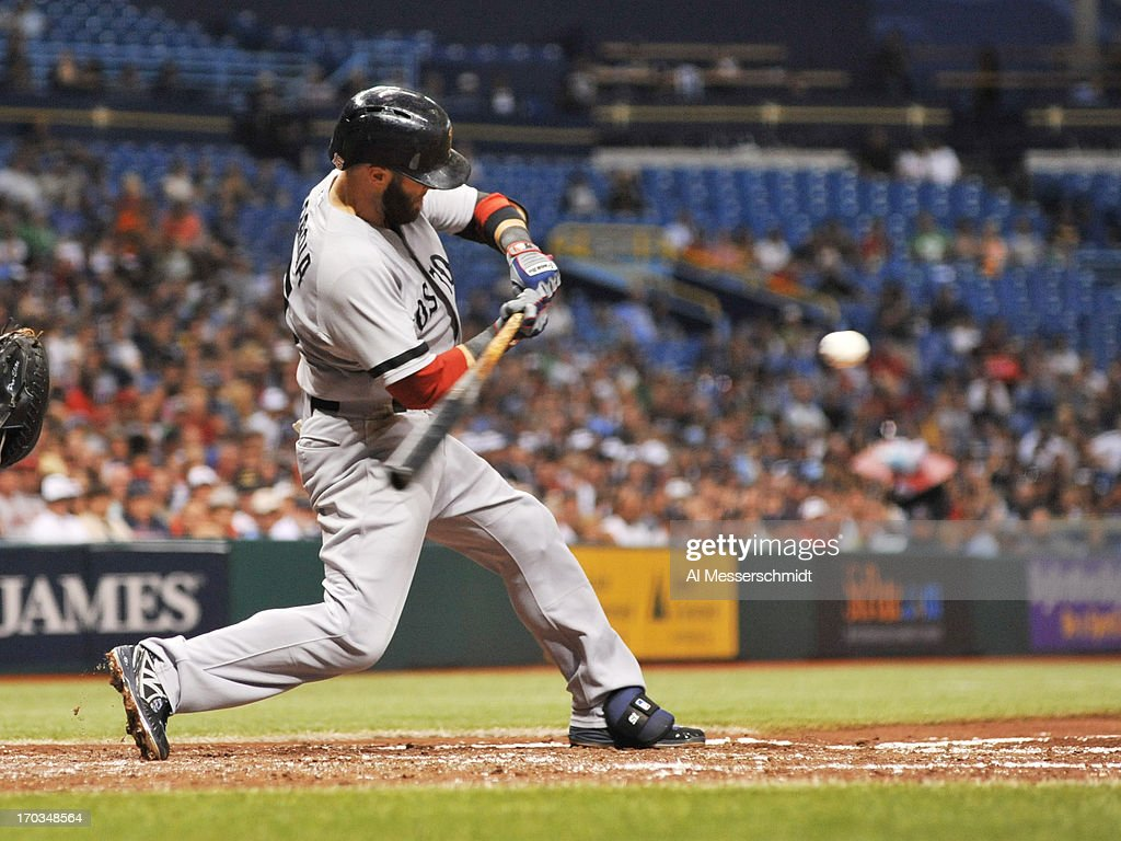 Infielder <a gi-track='captionPersonalityLinkClicked' href=/galleries/search?phrase=Dustin+Pedroia&family=editorial&specificpeople=836339 ng-click='$event.stopPropagation()'>Dustin Pedroia</a> #15 of the Boston Red Sox bats in the third inning against the Tampa Bay Rays June 11, 2013 at Tropicana Field in St. Petersburg, Florida.