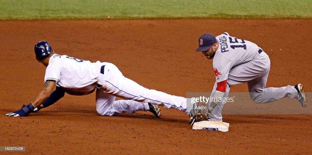 Infielder <a gi-track='captionPersonalityLinkClicked' href=/galleries/search?phrase=Dustin+Pedroia&family=editorial&specificpeople=836339 ng-click='$event.stopPropagation()'>Dustin Pedroia</a> #15 of the Boston Red Sox is late with the tag to outfielder <a gi-track='captionPersonalityLinkClicked' href=/galleries/search?phrase=Desmond+Jennings&family=editorial&specificpeople=5974085 ng-click='$event.stopPropagation()'>Desmond Jennings</a> #8 of the Tampa Bay Rays during the game at Tropicana Field on September 19, 2012 in St. Petersburg, Florida.