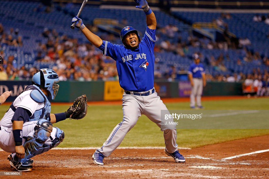 Infielder <a gi-track='captionPersonalityLinkClicked' href=/galleries/search?phrase=Edwin+Encarnacion&family=editorial&specificpeople=598285 ng-click='$event.stopPropagation()'>Edwin Encarnacion</a> #10 of the Toronto Blue Jays just gets out of the way of a pitch against the Tampa Bay Rays during the game at Tropicana Field on May 7, 2013 in St. Petersburg, Florida.