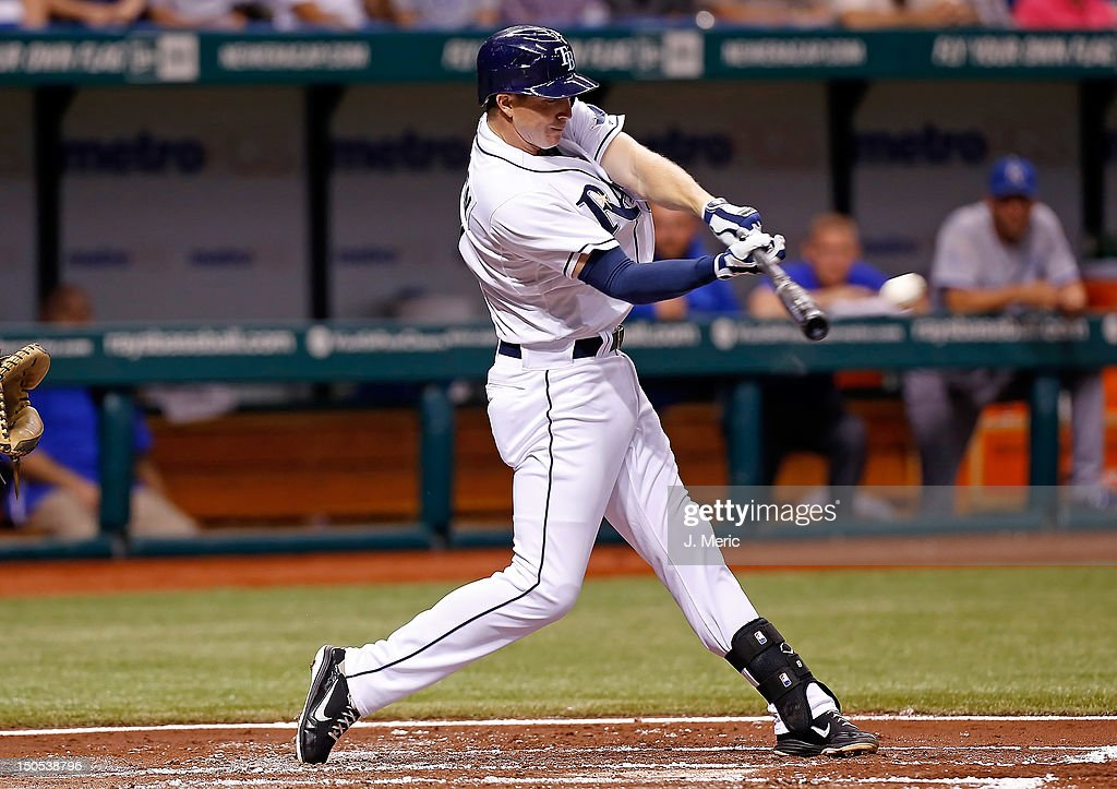 Infielder <a gi-track='captionPersonalityLinkClicked' href=/galleries/search?phrase=Elliot+Johnson+-+Baseball+Player&family=editorial&specificpeople=4175454 ng-click='$event.stopPropagation()'>Elliot Johnson</a> #9 of the Tampa Bay Rays fouls off a pitch against the Kansas City Royals during the game at Tropicana Field on August 20, 2012 in St. Petersburg, Florida.