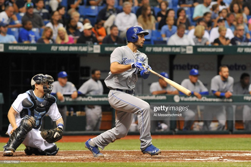 Infielder Eric Hosmer #35 of the Kansas City Royals bats in the first inning against the Tampa Bay Rays June 14, 2013 at Tropicana Field in St. Petersburg, Florida.
