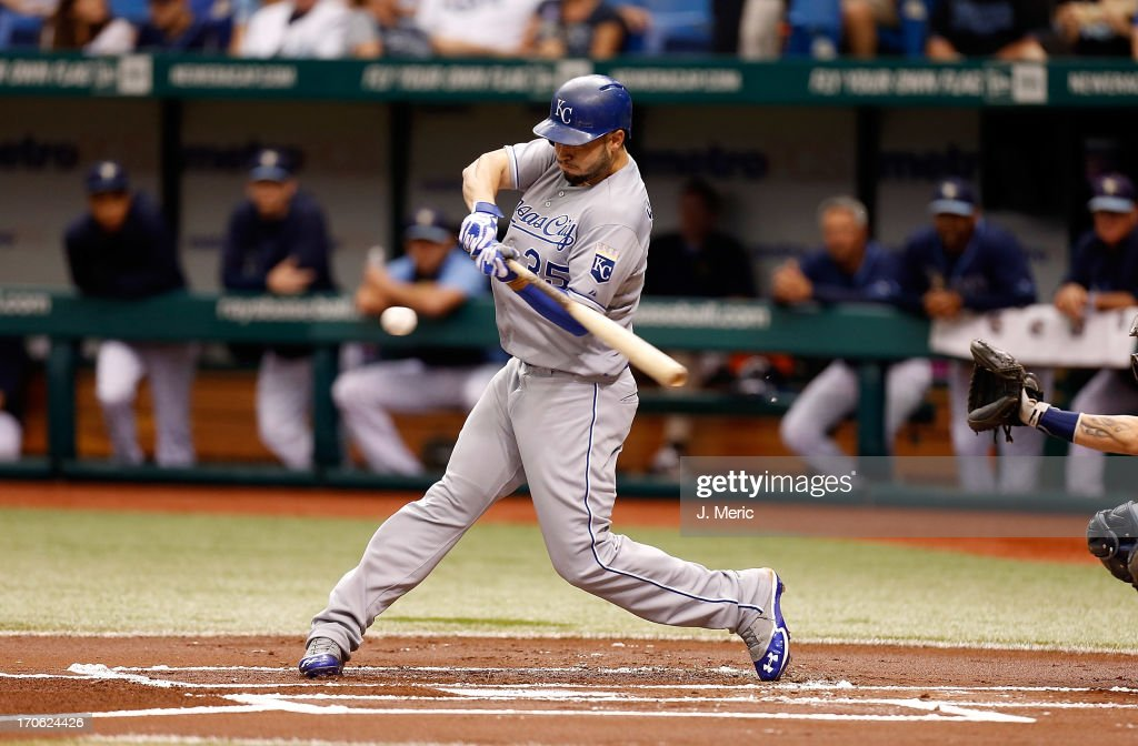 Infielder Eric Hosmer #35 of the Kansas City Royals fouls off a pitch against the Tampa Bay Rays during the game at Tropicana Field on June 15, 2013 in St. Petersburg, Florida.