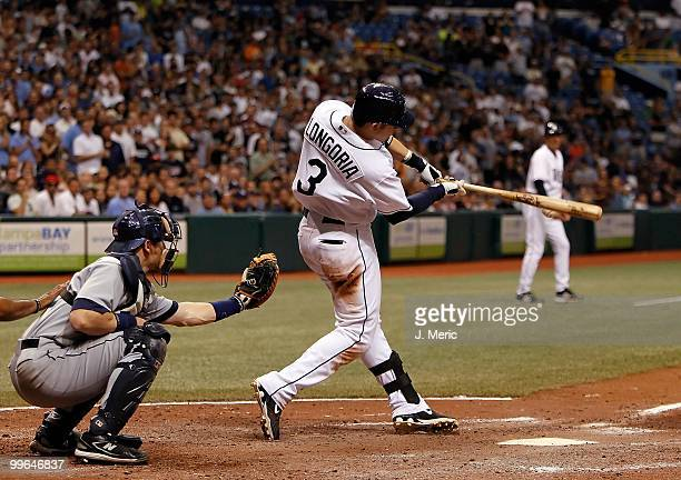 Infielder Evan Longoria of the Tampa Bay Rays bats against the Seattle Mariners during the game at Tropicana Field on May 15 2010 in St Petersburg...