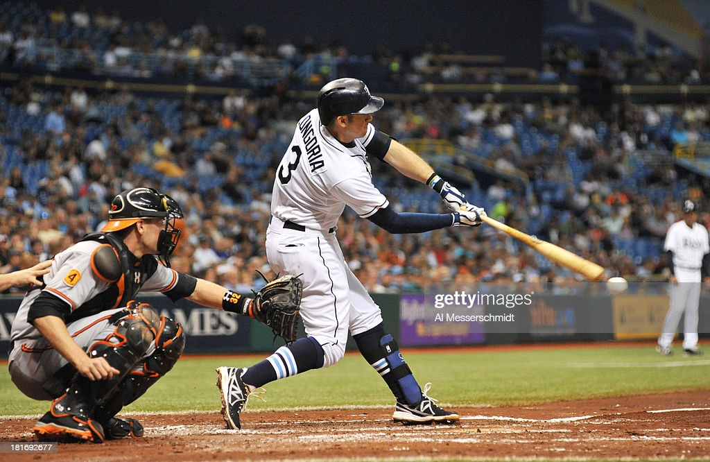 Infielder Evan Longoria #3 of the Tampa Bay Rays bats in the 4th inning against the Baltimore Orioles September 23, 2013 at Tropicana Field in St. Petersburg, Florida.