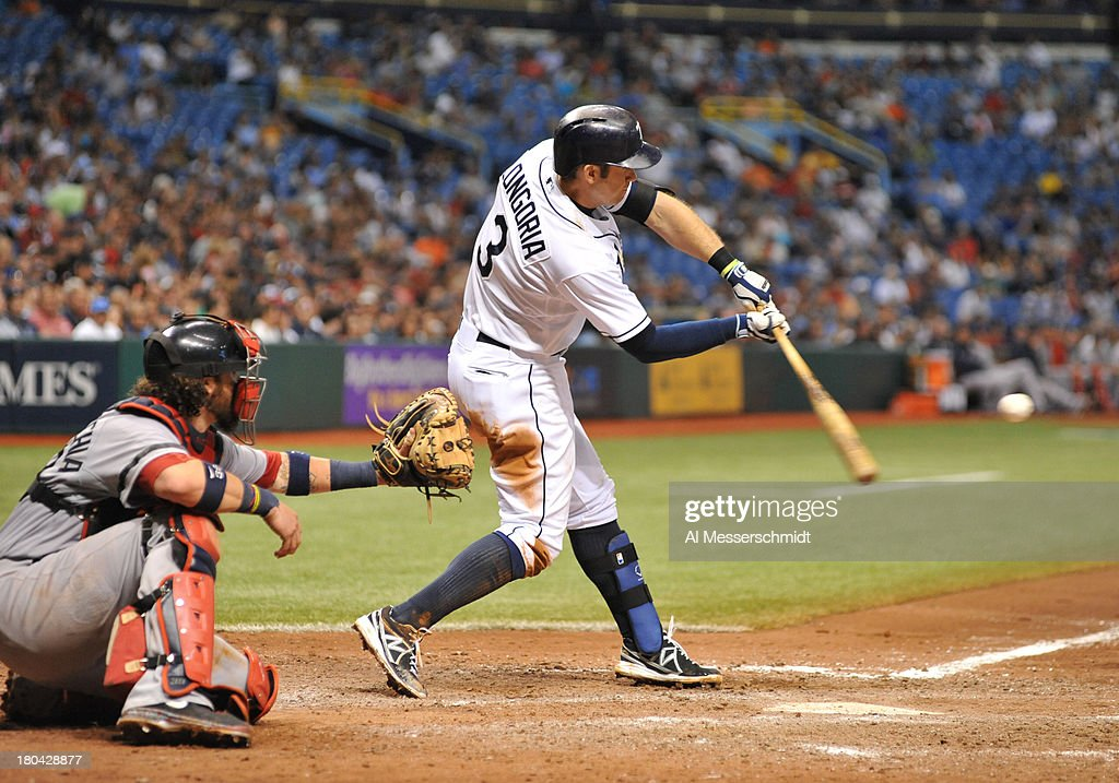 Infielder Evan Longoria #3 of the Tampa Bay Rays doubles in the 8th inning against the Boston Red Sox September 12, 2013 at Tropicana Field in St. Petersburg, Florida. Longoria scored and the Rays won 4 - 3.