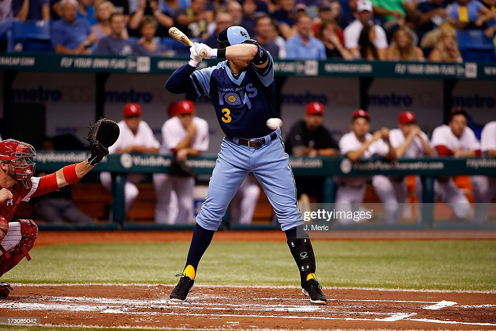 Infielder <a gi-track='captionPersonalityLinkClicked' href=/galleries/search?phrase=Evan+Longoria&family=editorial&specificpeople=2349329 ng-click='$event.stopPropagation()'>Evan Longoria</a> #3 of the Tampa Bay Rays just gets out of the way of this pitch against the Chicago White Sox during the game at Tropicana Field on July 6, 2013 in St. Petersburg, Florida.