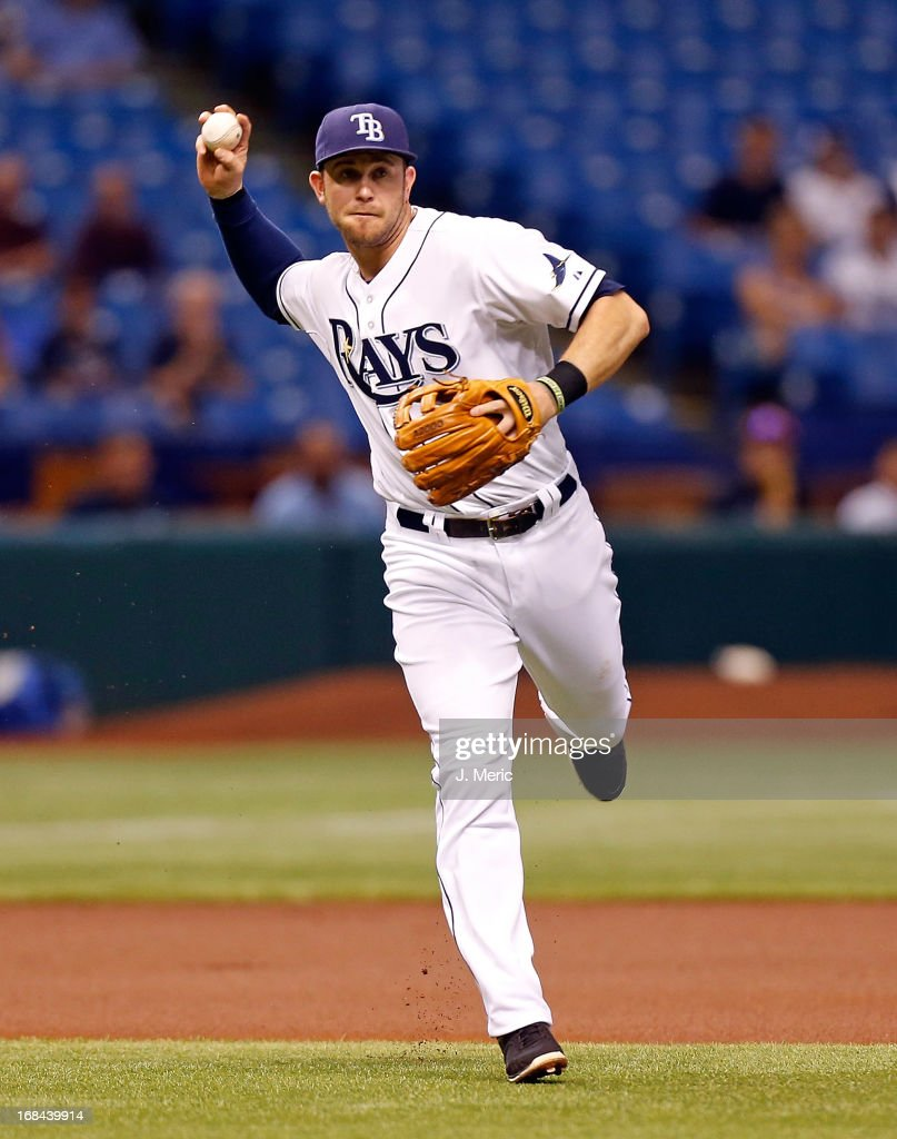 Infielder Evan Longoria #3 of the Tampa Bay Rays throws over to first for an out against the Toronto Blue Jays during the game at Tropicana Field on May 9, 2013 in St. Petersburg, Florida.