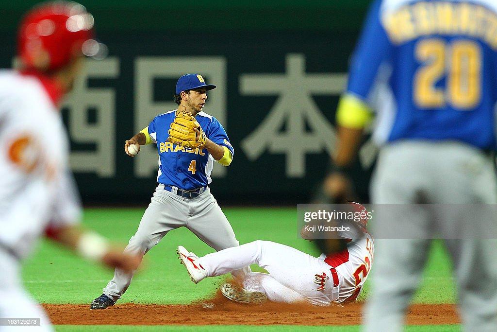 Infielder Felipe Burin#4 of Brazil in action during the World Baseball Classic First Round Group A game between China and Brazil at Fukuoka Yahoo! Japan Dome on March 5, 2013 in Fukuoka, Japan.