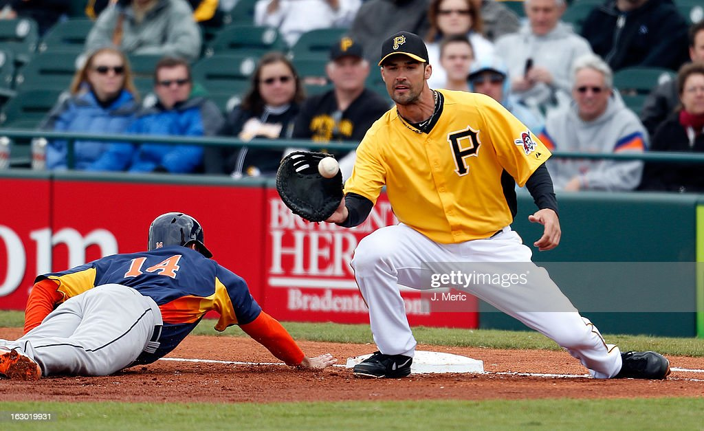 Infielder Garrett Jones #46 of the Pittsburgh Pirates takes the throw at first as outfielder J.D. Martinez #14 of the Houston Astros gets back safely during a Grapefruit League Spring Training Game at McKechnie Field on March 3, 2013 in Bradenton, Florida.