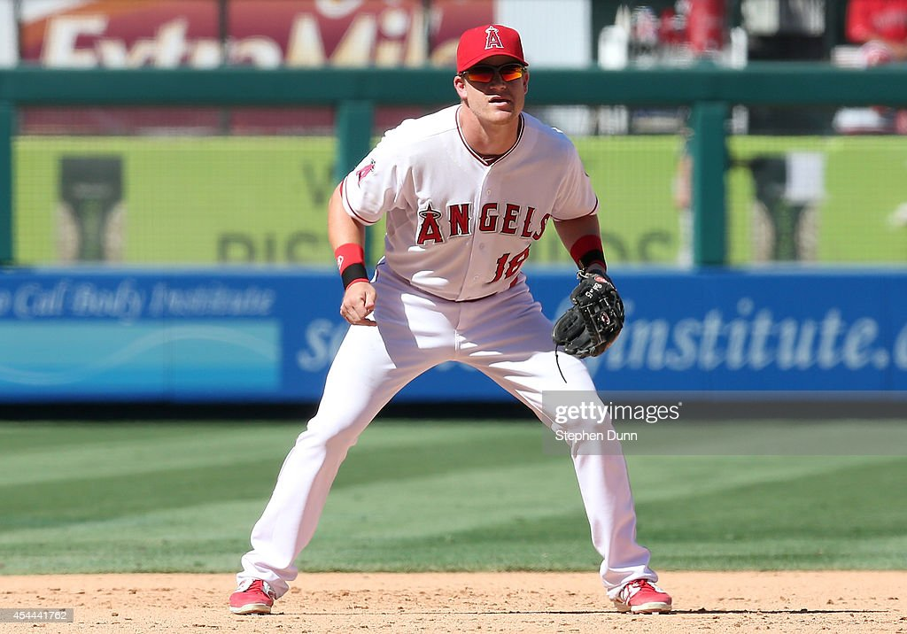 Infielder <a gi-track='captionPersonalityLinkClicked' href=/galleries/search?phrase=Gordon+Beckham&family=editorial&specificpeople=5411079 ng-click='$event.stopPropagation()'>Gordon Beckham</a> #18 of the Los Angeles Angels of Anaheim plays third base in the game against the Oakland Athletics at Angel Stadium of Anaheim on August 31, 2014 in Anaheim, California. The Angels won 8-1 to complete a four game sweep.