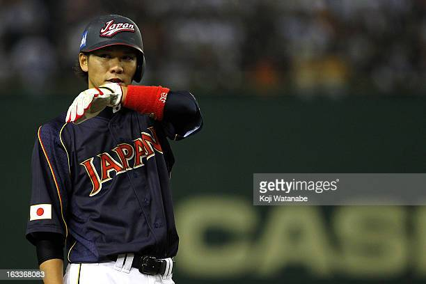 Infielder Hayato Sakamoto of Japan in action during the World Baseball Classic Second Round Pool 1 game between Japan and Chinese Taipei at Tokyo...
