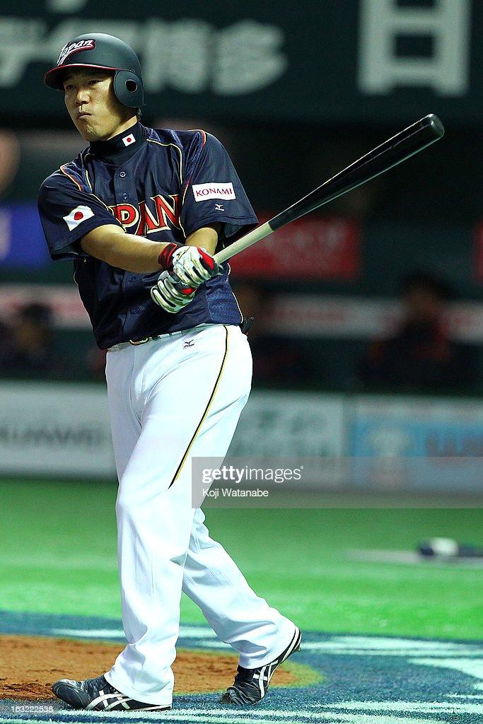 Infielder Hirokazu Ibata #3 of Japan at bat during the World Baseball Classic First Round Group A game between Japan and Cuba at Fukuoka Yahoo! Japan Dome on March 6, 2013 in Fukuoka, Japan.