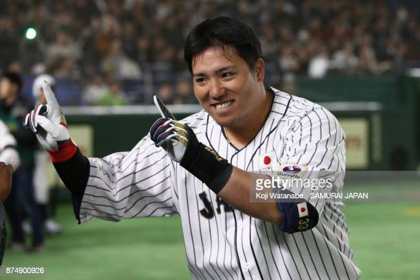 Infielder Hotaka Yamakawa of Japan celebrates after hitting a tworun in the bottom of sixth inning during the Eneos Asia Professional Baseball...