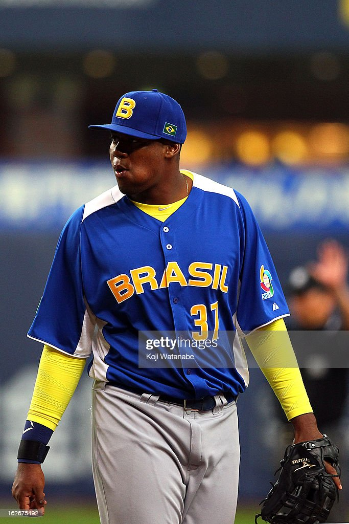 Infielder Iago Januario #37 of Brazil in action during the friendly game between Orix Buffaloes and Brazil at Kyocera Dome Osaka on February 26, 2013 in Osaka, Japan.