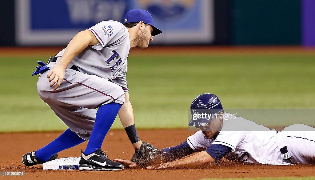 Infielder Ian Kinsler #5 of the Texas Rangers applies the tag to outfielder Sam Fuld #5 of the Tampa Bay Rays on a steal attempt during the game at Tropicana Field on September 8, 2012 in St. Petersburg, Florida.