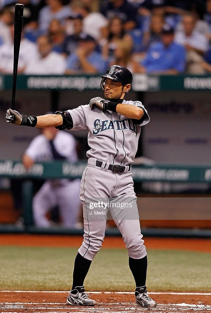 Infielder Ichiro Suzuki #51 of the Seattle Mariners bats against the Tampa Bay Rays during the game at Tropicana Field on May 14, 2010 in St. Petersburg, Florida.