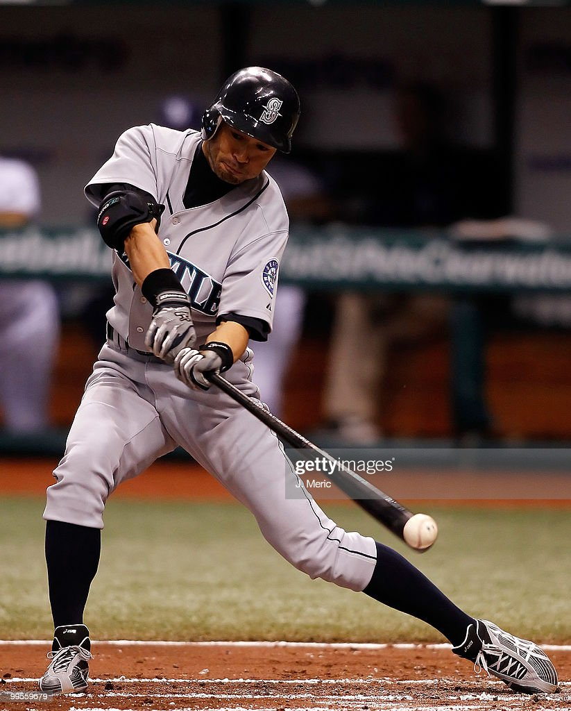 Infielder Ichiro Suzuki #51 of the Seattle Mariners fouls off a pitch against the Tampa Bay Rays during the game at Tropicana Field on May 14, 2010 in St. Petersburg, Florida.