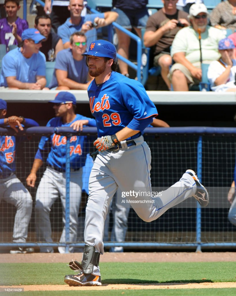 Infielder Ike Davis #29 of the New York Mets rounds third base after a three-run homer against the New York Yankees in a spring training game April 4, 2012 at George M. Steinbrenner Field in Tampa, Florida.