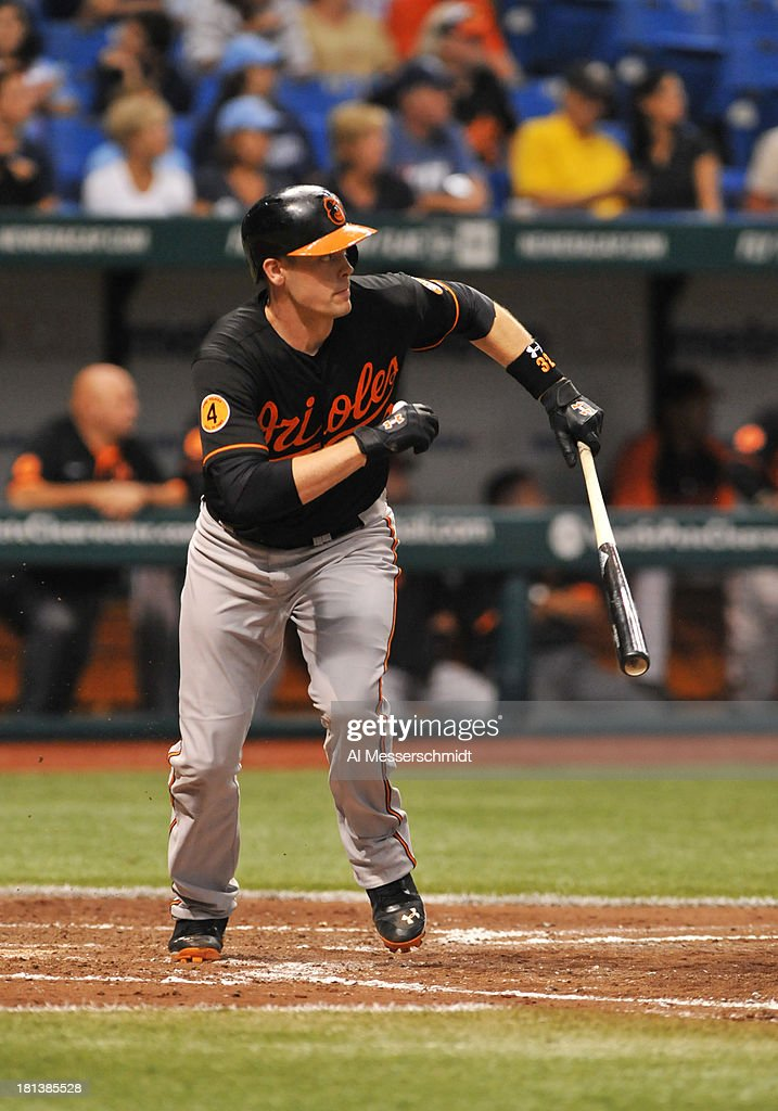 Infielder J. J. Hardy #2 of the Baltimore Orioles bats against the Tampa Bay Rays September 20, 2013 at Tropicana Field in St. Petersburg, Florida.