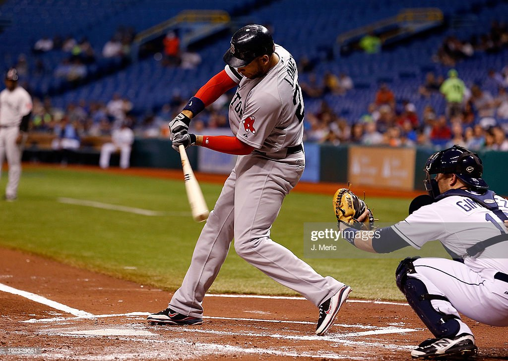 Infielder <a gi-track='captionPersonalityLinkClicked' href=/galleries/search?phrase=James+Loney&family=editorial&specificpeople=636293 ng-click='$event.stopPropagation()'>James Loney</a> #22 of the Boston Red Sox bats against the Tampa Bay Rays during the game at Tropicana Field on September 18, 2012 in St. Petersburg, Florida.