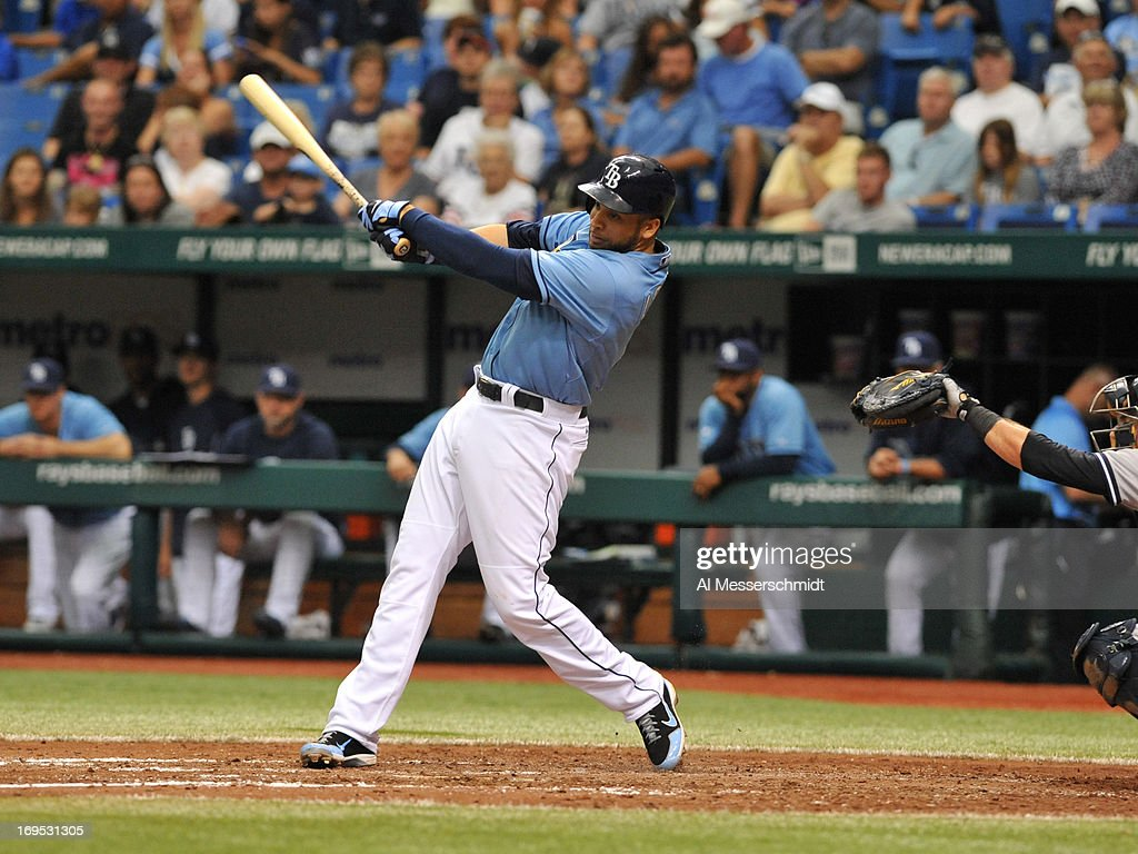 Infielder <a gi-track='captionPersonalityLinkClicked' href=/galleries/search?phrase=James+Loney&family=editorial&specificpeople=636293 ng-click='$event.stopPropagation()'>James Loney</a> #21 of the Tampa Bay Rays bats in the eighth inning against the New York Yankees May 25, 2013 at Tropicana Field in St. Petersburg, Florida. Loney homered in the 6th inning and the Rays won 8 - 3.