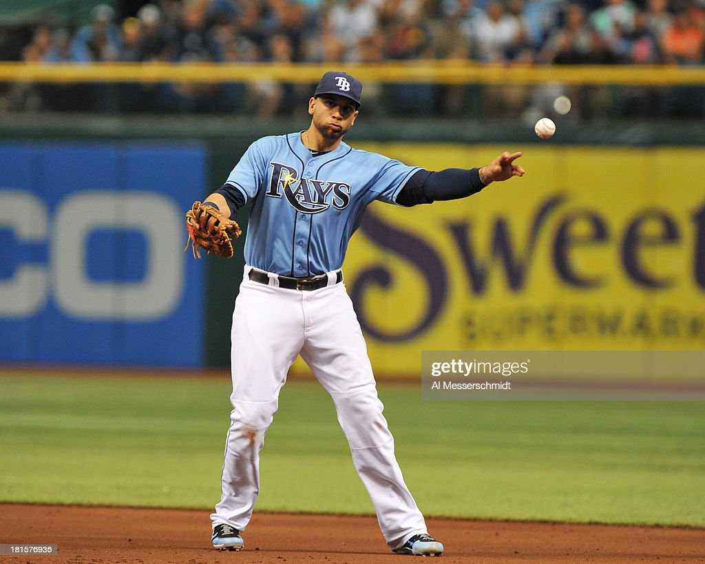 Infielder <a gi-track='captionPersonalityLinkClicked' href=/galleries/search?phrase=James+Loney&family=editorial&specificpeople=636293 ng-click='$event.stopPropagation()'>James Loney</a> #21 of the Tampa Bay Rays fields an infield ball and throws to 1st base against the Baltimore Orioles September 22, 2013 at Tropicana Field in St. Petersburg, Florida. The Rays won 3 - 1.