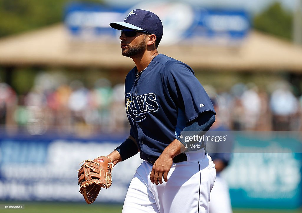Infielder James Loney #21 of the Tampa Bay Rays plays first base against the Boston Red Sox during a Grapefruit League Spring Training Game at the Charlotte Sports Complex on March 16, 2013 in Port Charlotte, Florida.