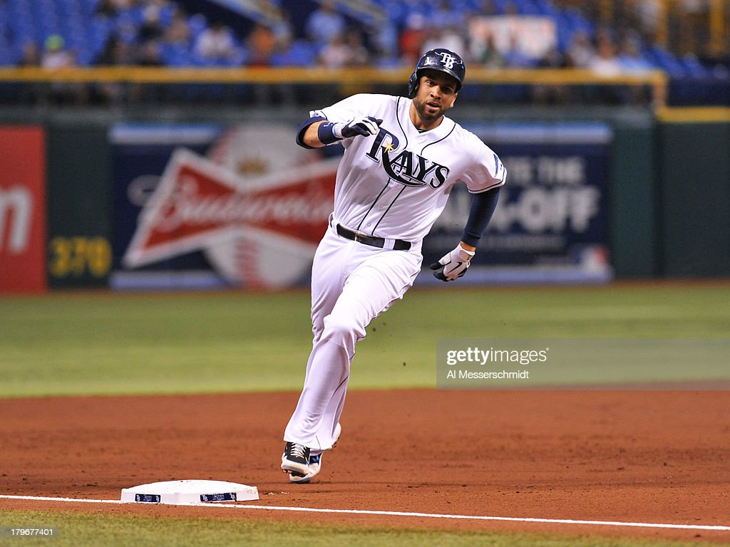 Infielder James Loney #21 of the Tampa Bay Rays rounds 3rd base against the Los Angeles Angels of Anaheim August 27, 2013 at Tropicana Field in St. Petersburg, Florida.